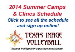 """<a href=""""http://www.texasimagevolleyball.com/programs/summer-camps-clinics"""">2014 Summer Schedule</a>"""