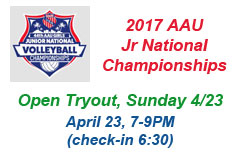 "<a href=""http://www.texasimagevolleyball.com/2017-aau-jr-national-championships/"">AAU Tryouts</a>"