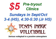 "<a href=""http://www.texasimagevolleyball.com/5-pre-tryout-clinics"">Pre-tryout Clinics</a>"